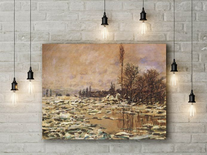 Claude Monet: Drift Ice at Vetheuil. Fine Art Canvas.